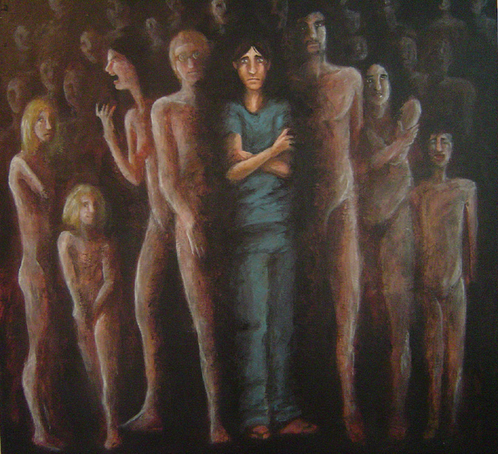 a confused male figure surrounded by shadowy, humanoid forms