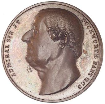 Duckworth depicted in his last year on a commemorative medal minted by his friends. Duckworth commemorative medal obverse.jpg