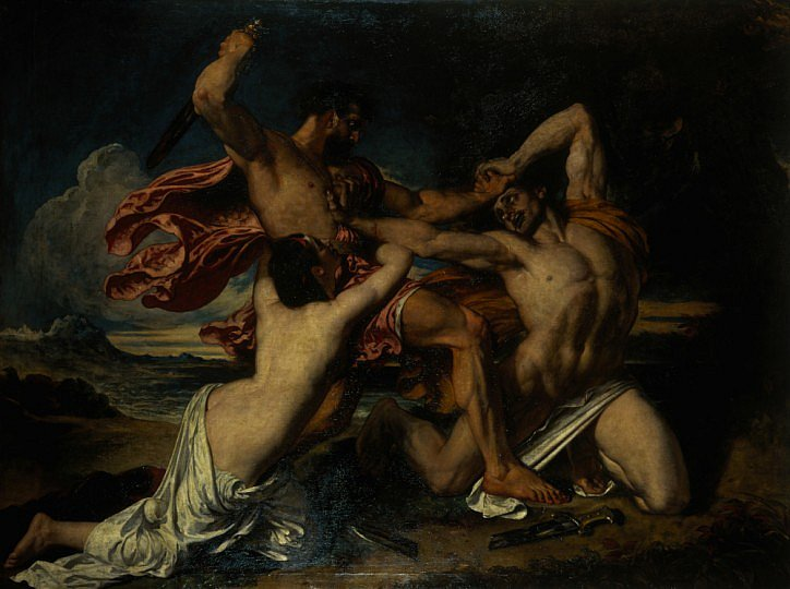 Semi-nude man prepares to stab a naked man, while a semi-nude woman clutches his waist