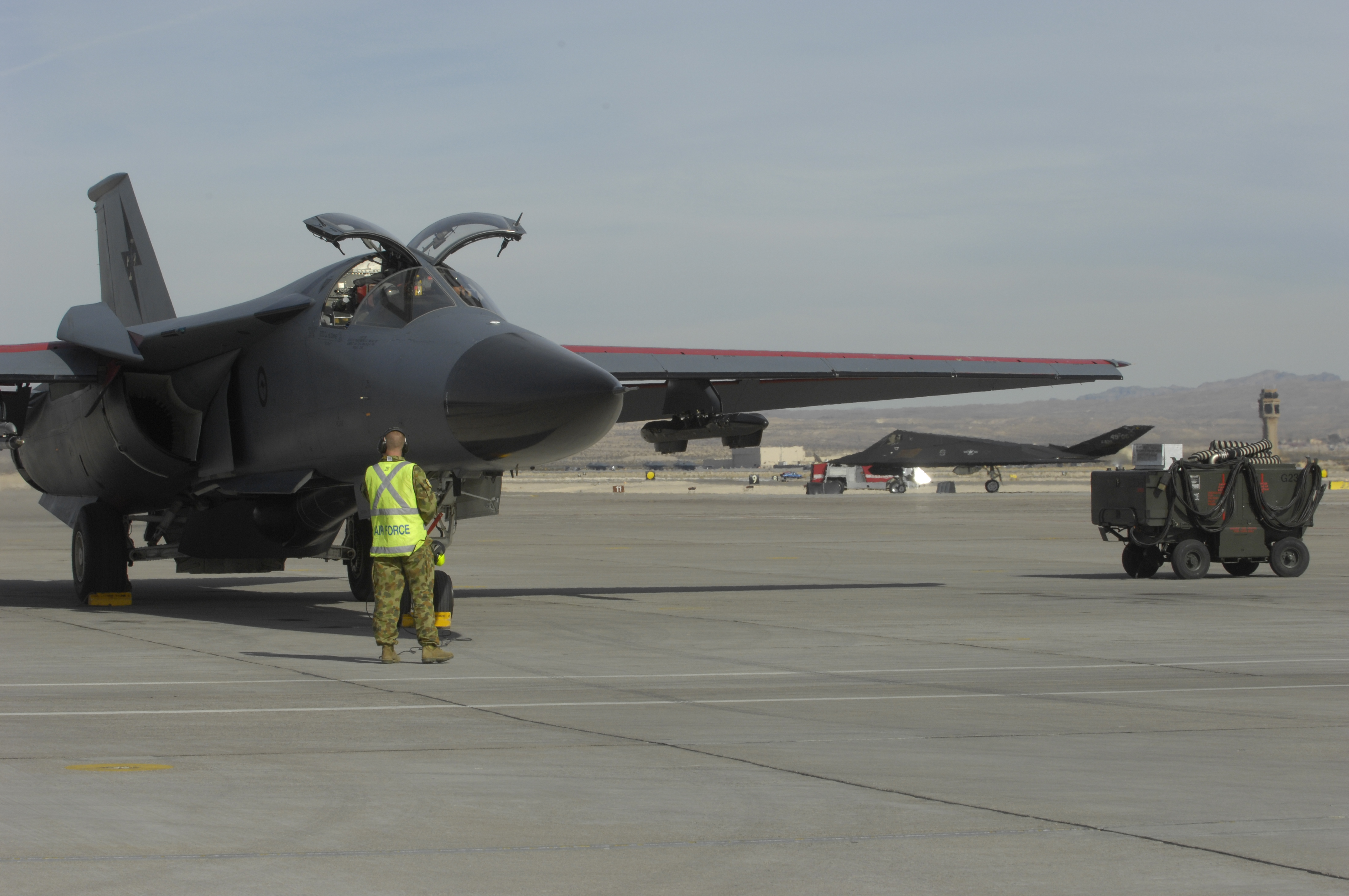 File:F-111C with F-117A 2007.JPG - Wikimedia Commons
