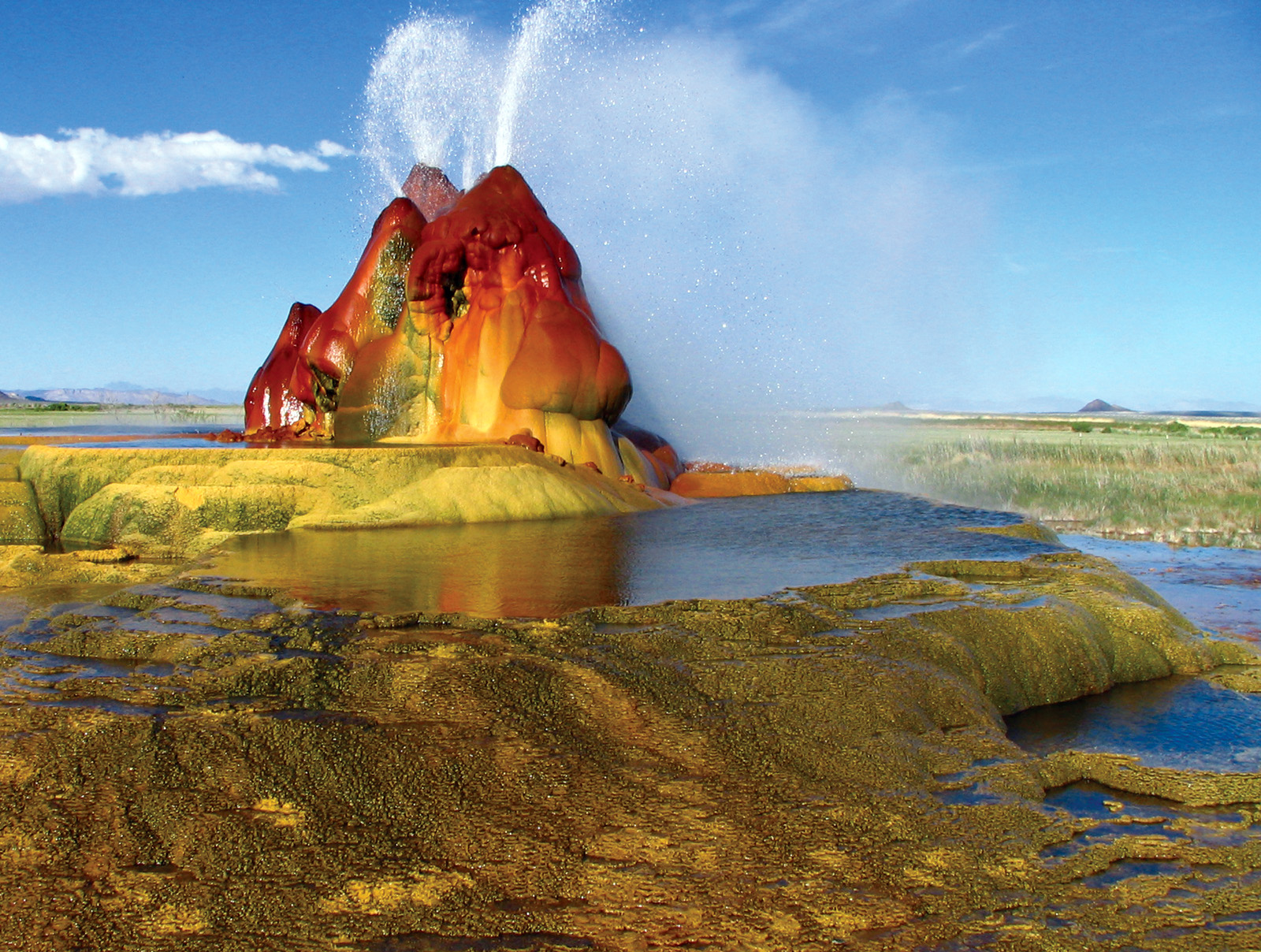Multicolored Martian Landscape? Nope. Fly Geyser in the Nevada Desert