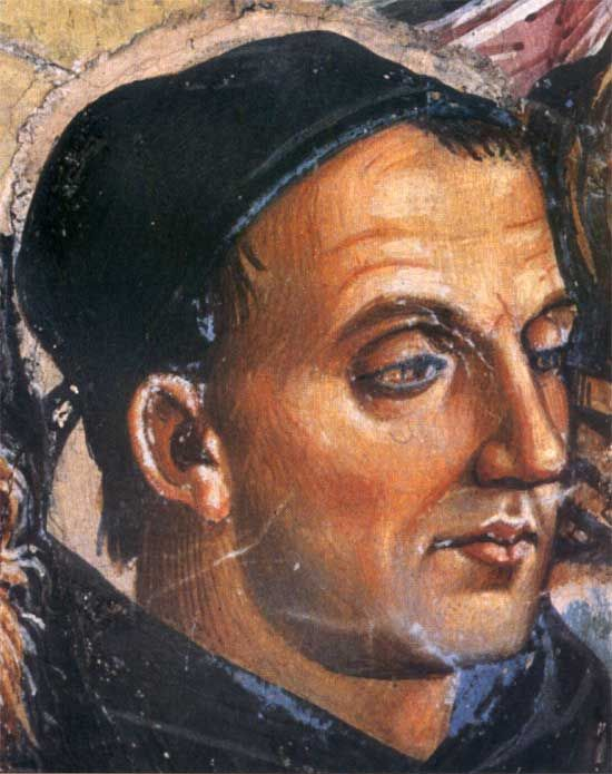 Posthumous portrait of Fra Angelico by Luca Signorelli, detail from Deeds of the Antichrist fresco (c.1501) in Orvieto Cathedral, Italy.