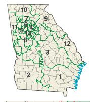 Georgia districts in these elections