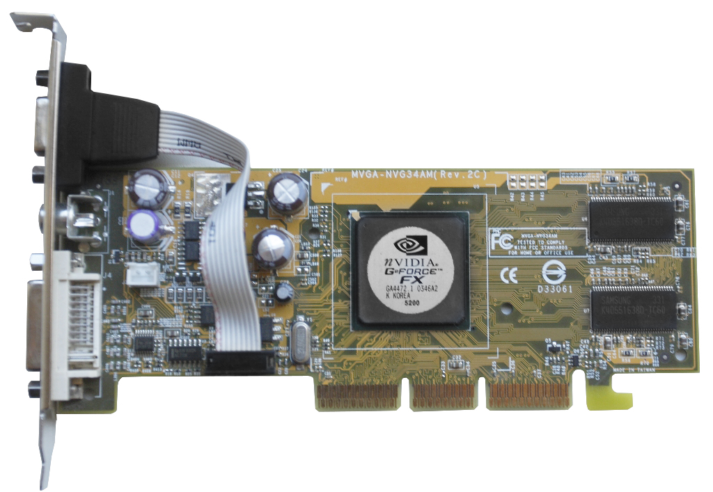 Nvidia geforce fx 5200 / 128mb ddr / pci / dvi / tv-out / video.