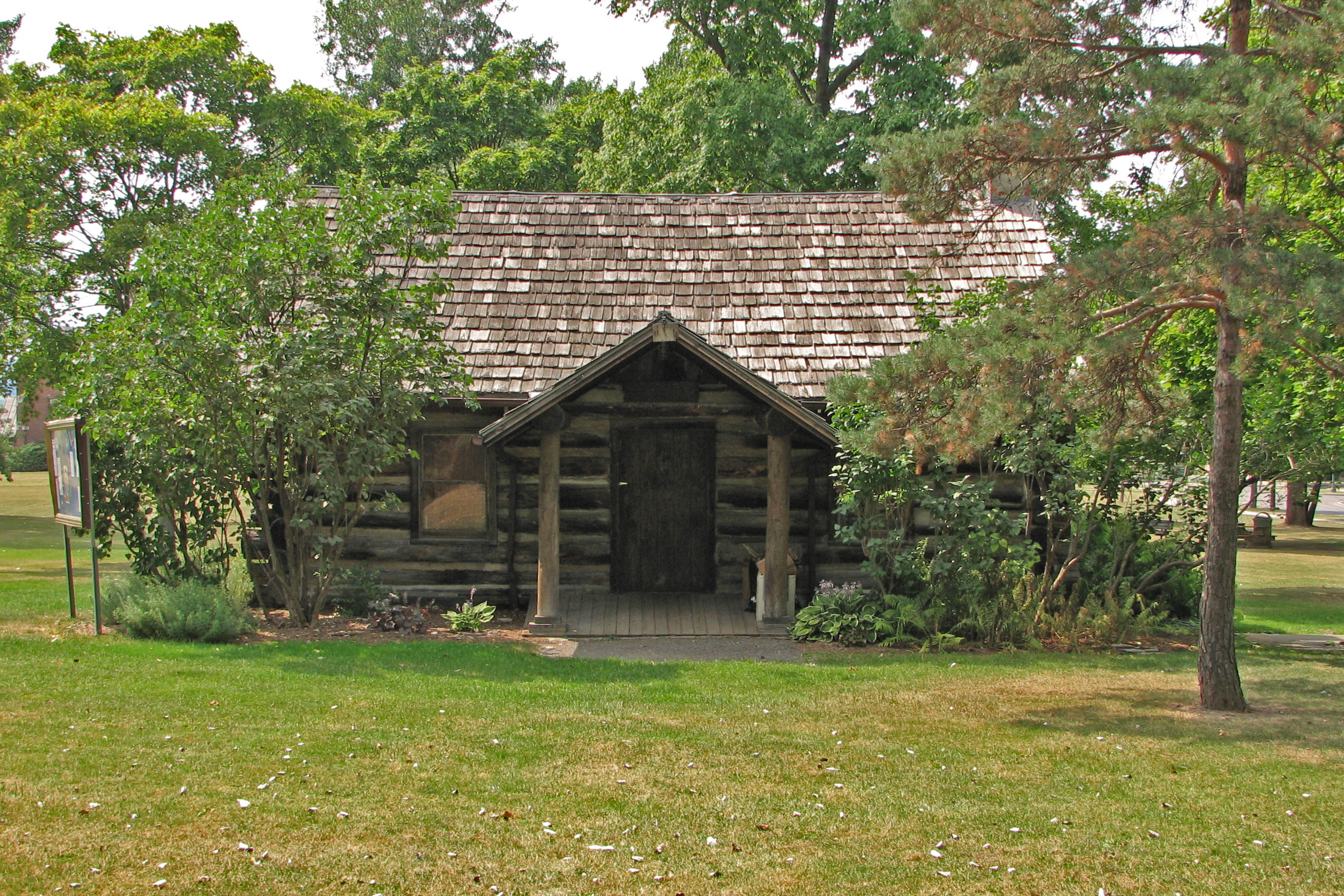 Marvelous photograph of Description Geneseo log cabin.jpg with #8C793F color and 2614x1743 pixels