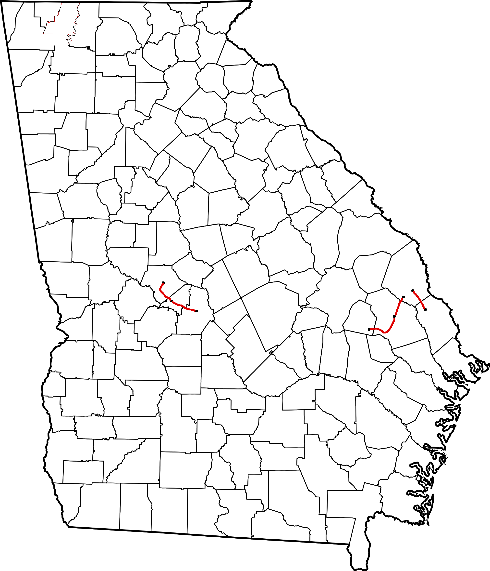 FileGeorgia Midland Railroad Route Mappng Wikimedia Commons - Georgia map with county lines