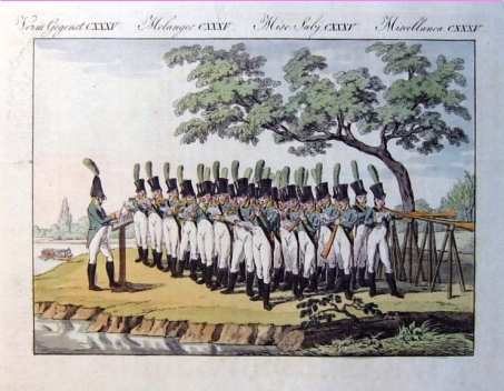 Drawing of a group of men in military uniforms holding long musical horns.