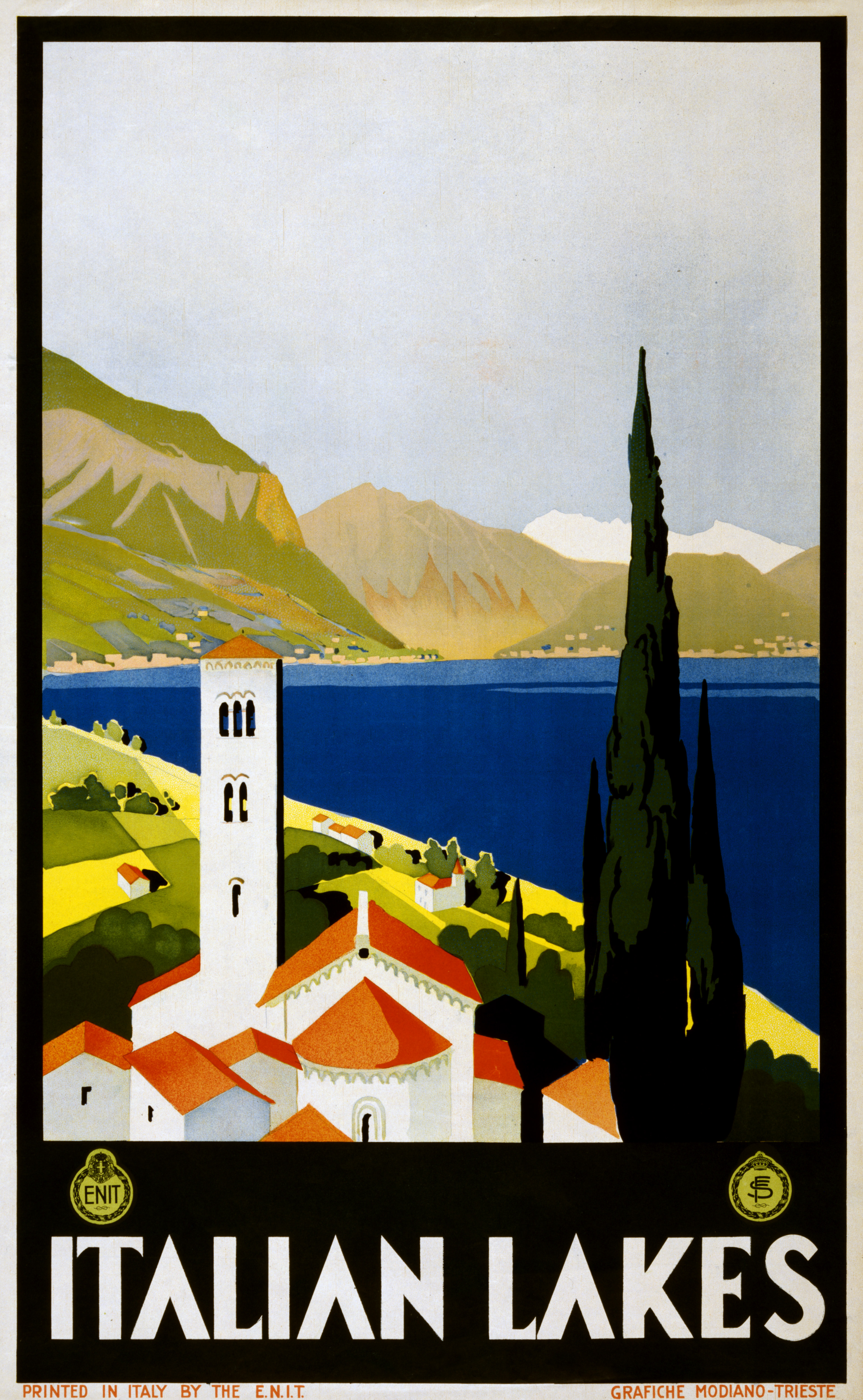 File italian lakes travel poster for enit ca wikimedia commons - Affiche art deco ...