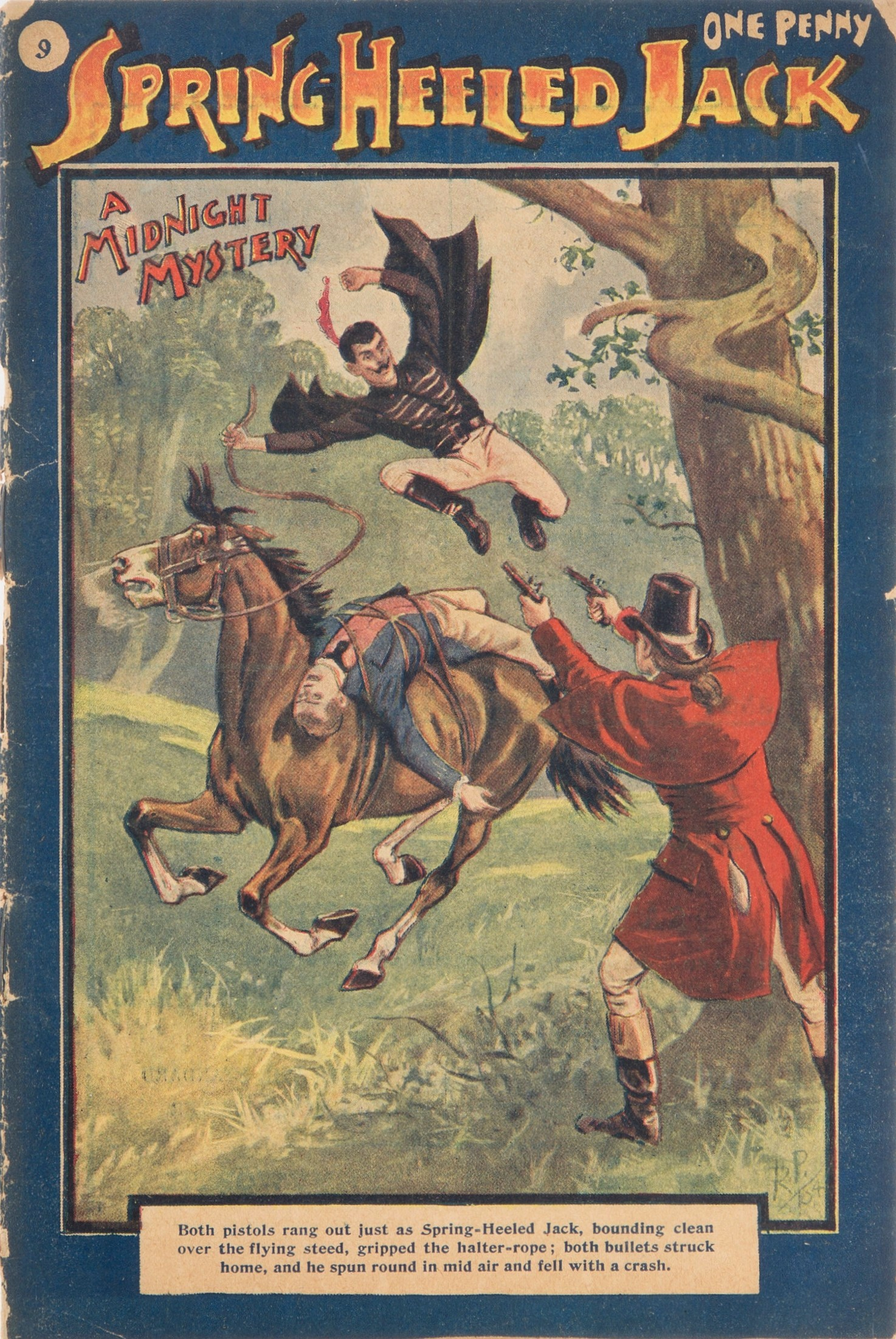 An image of Spring-heeled Jack on the cover of a penny dreadful.