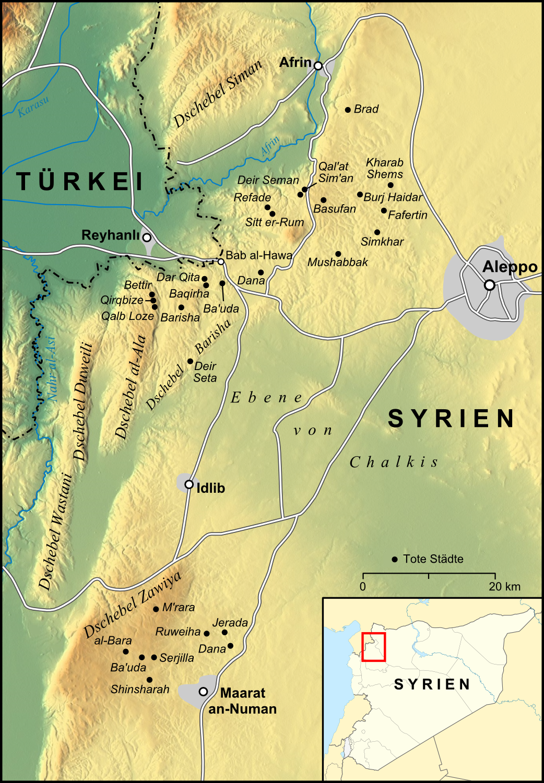 Syrien Karte Mit Städten.Datei Karte Tote Städte In Syrien Png Wikipedia