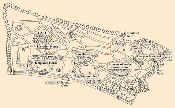 Carte simplifiée de Kew Gardens à Londres.