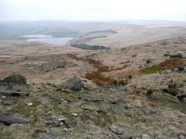 Little valley down the hillside, Saddleworth - geograph.org.uk - 750545