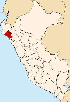 Location of the Lambayeque region in Peru
