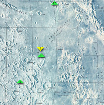 מפת ים השלווה, ובה אתרי הנחיתה של אפולו 11, אפולו 16, אפולו 17 וסורביור 5
