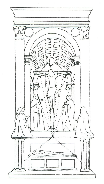 Masaccio. Trinity. Scheme of linear perspective..jpg