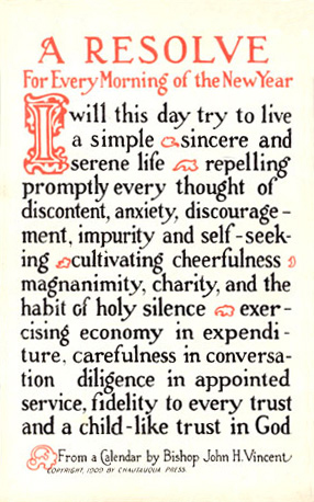 A calligraphic card of a traditional New Year's Resolution from 1915