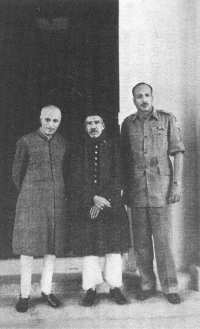 (From left to right): Prime Minister Jawaharlal Nehru, Nizam VII and Jayanto Nath Chaudhuri after Hyderabad's accession to India OsmanNehruJN.jpg