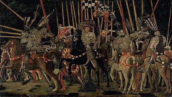 Fichier:Paolo di Dono, dit Uccello - La bataille de San Romano la contre-attaque de Micheletto da Cotignola, 1455.jpg