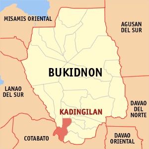 Map of Bukidnon showing the location of Kadingilan