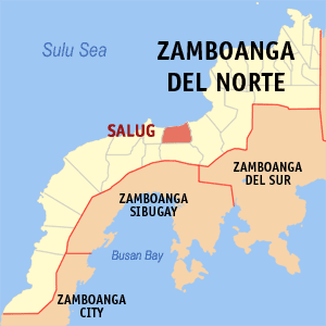 Map of Zamboanga del Norte showing the location of Salug