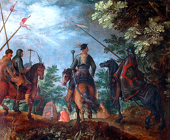 File:Polish hussars marching in the wood.PNG