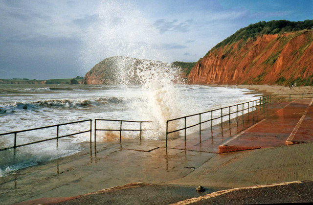 File Rough Sea At Sidmouth Devon Geograph Org Uk