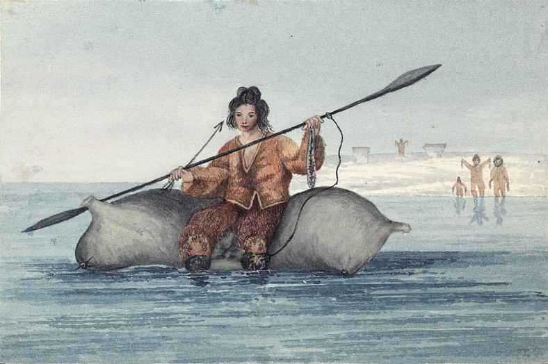 Sadlermiut man on an inflated walrus skin. From the Library and Archives Canada website; additional information can be found here.