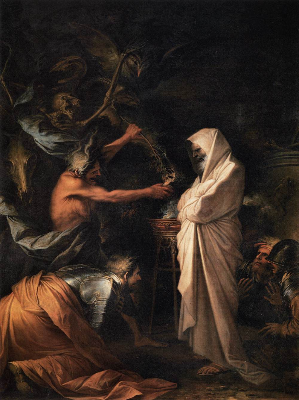 An image of Saul and the Witch of Endor.