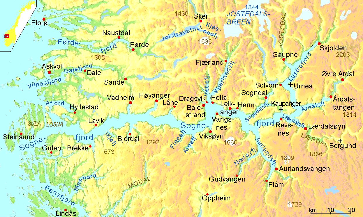 Sogne Fjord map