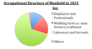 Pie-chart showing the occupational structure for Manfield in 1831