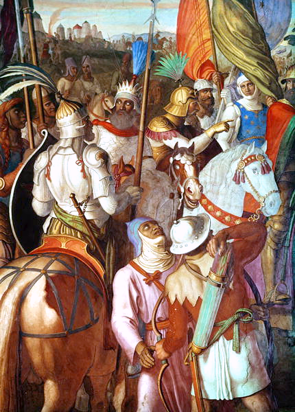 The Saracen Army outside Paris, 730-32, in an early-nineteenth-century depiction by Julius Schnorr von Carolsfeld The Saracen Army outside Paris, 730-32 AD.png