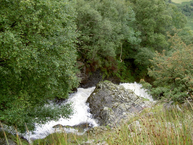 The river in spate above Aber Falls - geograph.org.uk - 933694