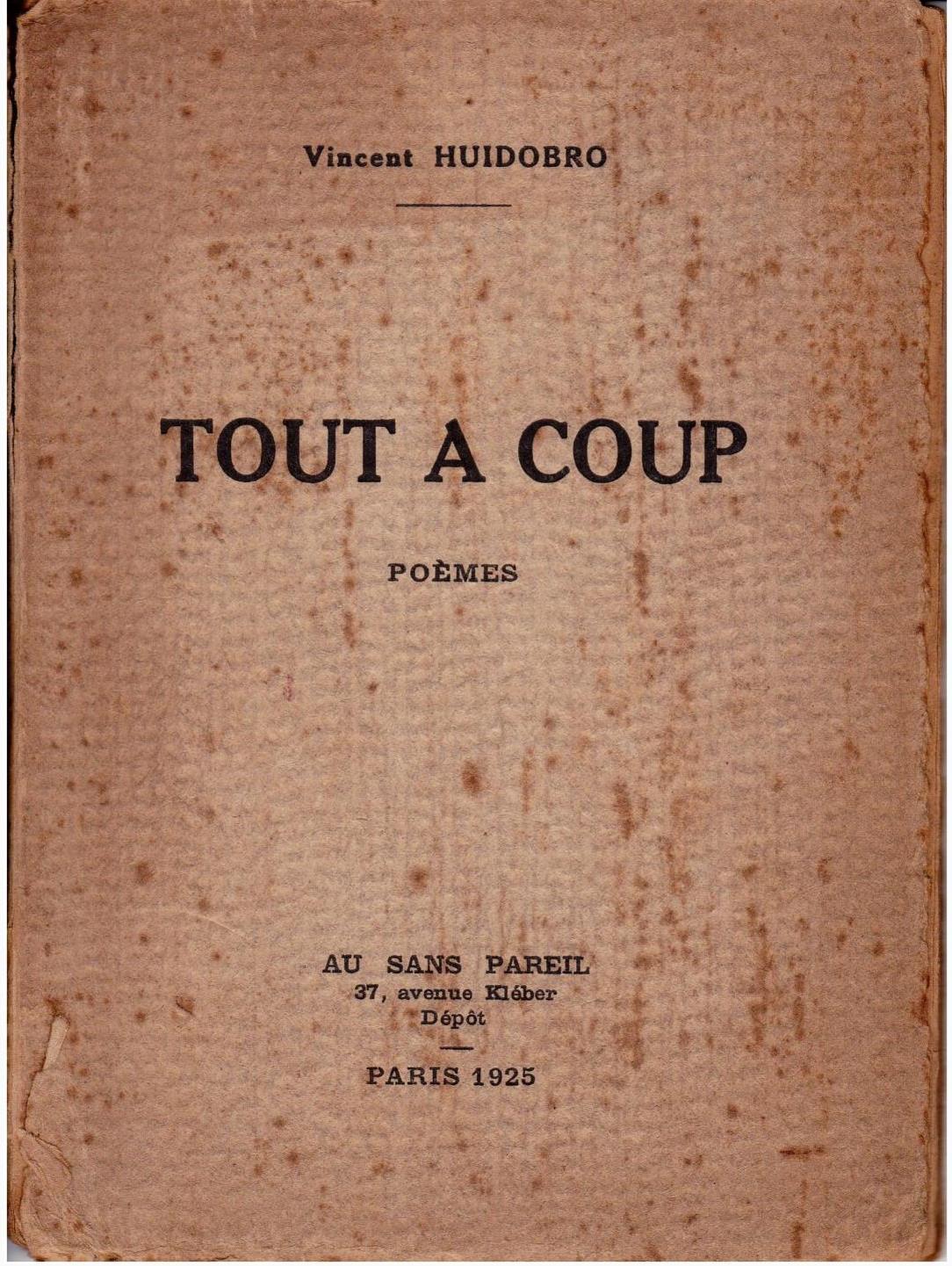 Portada de Tout à coup (1925).