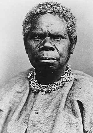 Truganini, a Tasmanian Aboriginal who survived the outbreak of disease and conflicts which followed the British colonisation of Van Diemen's Land Trugannini 1866.jpg