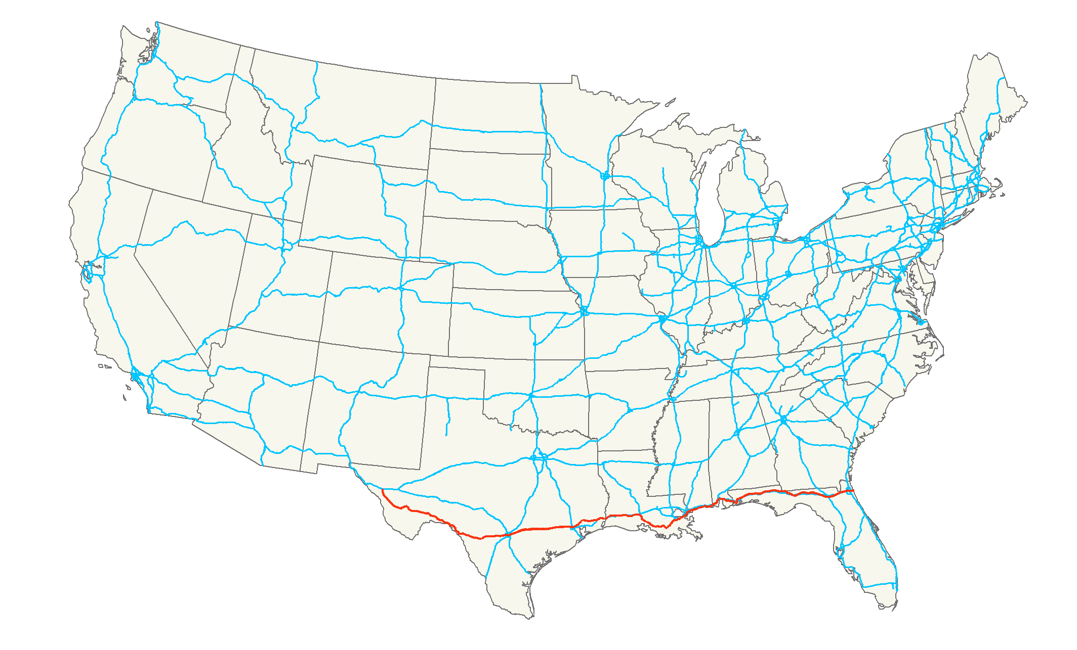 Map Of Us Highway 90 U.S. Route 90   Wikipedia