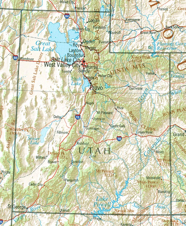 List Of Mountain Ranges Of Utah Wikipedia - Labeled us map with mountain range and rivers