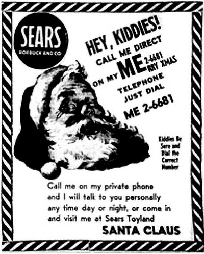 1955 Sears ad with the misprinted telephone number that led to the creation of the NORAD Tracks Santa program