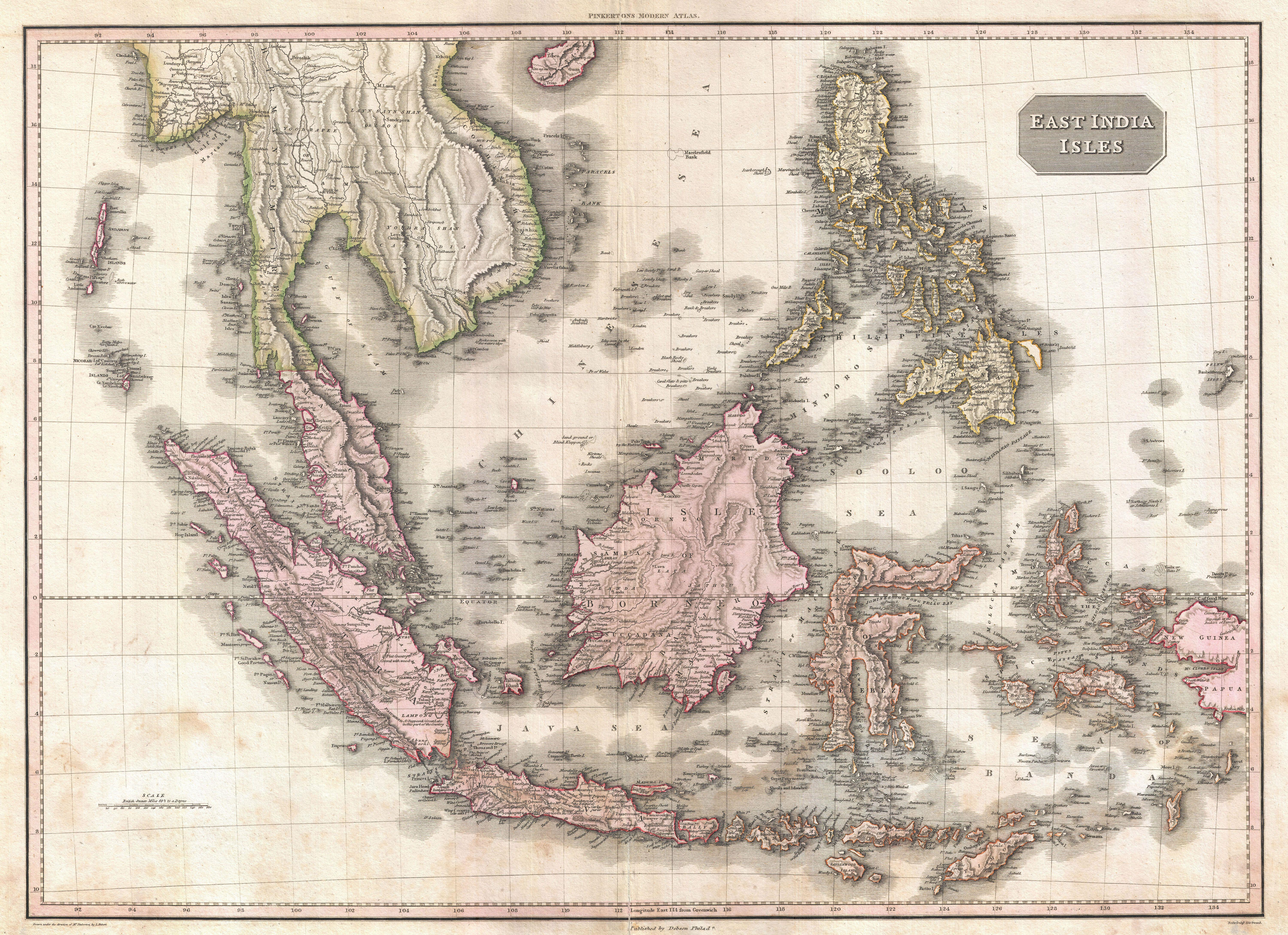 pinkertons 1818 map of the east indies