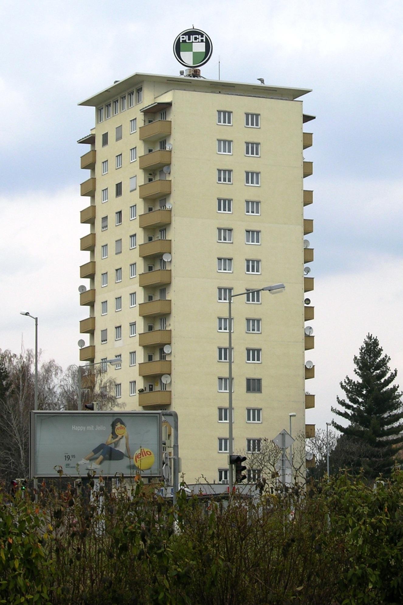 Das Puch-Hochhaus in Thondorf