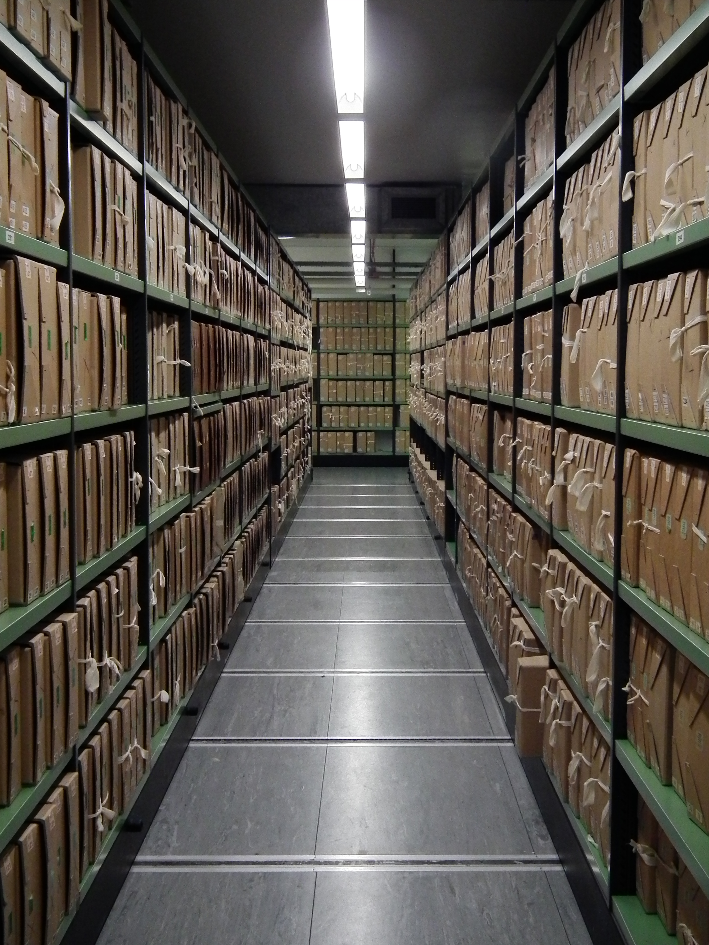 Photograph of the National Archives shelves.