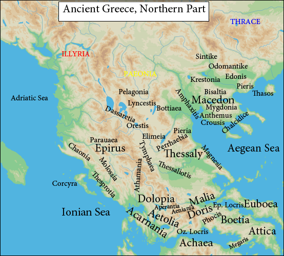 Ancient Greek Northern regions