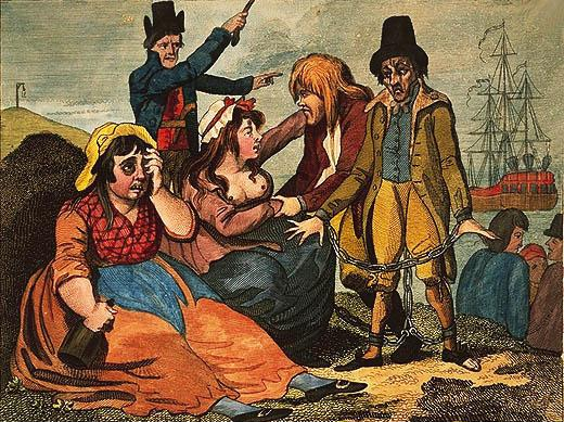 Black-eyed Sue and Sweet Poll of Plymouth taking leave of their lovers who are going to Botany Bay