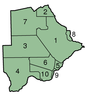 File:Botswana Districts numbered 300px.png