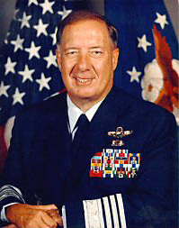 General Charles Horner, USAF, wearing the short-lived USAF silver sleeve braid rank insignia, similar in concept but not colour to the RAF officer ranks