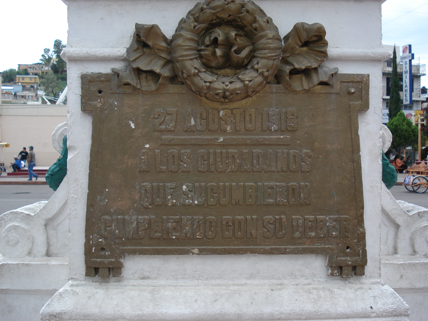 Close up of the Monument to the Citizens of Nogales, Sonora, who participated in the Battle of August 27, 1918