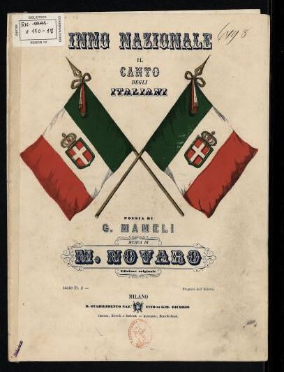 Copertina del libretto dell'inno di Mameli