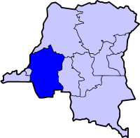 Map of the Dem. Rep. of the Congo highlighting the Province of バンドゥンドゥ