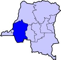 Localisation du Bandundu (en bleu foncé) à l'intérieur de la République démocratique du Congo