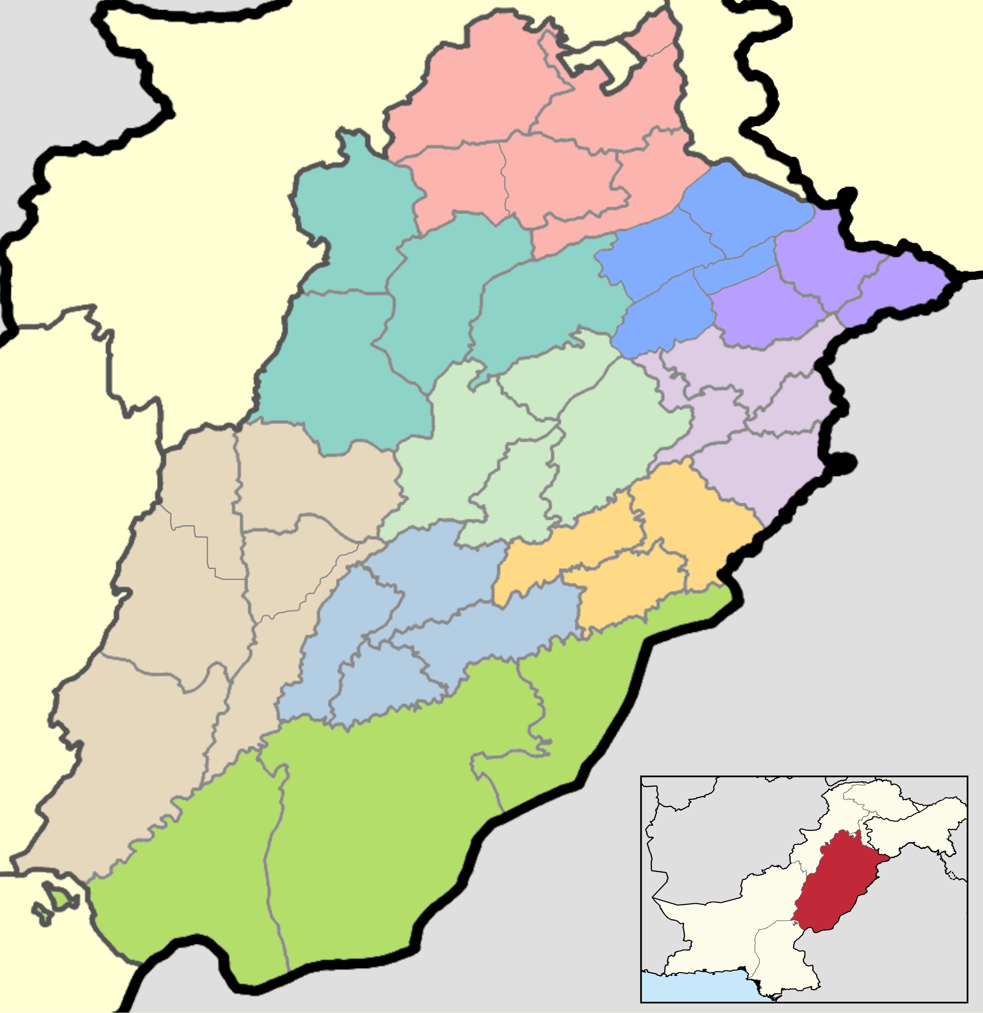 Districts Of Punjab Pakistan Wikipedia