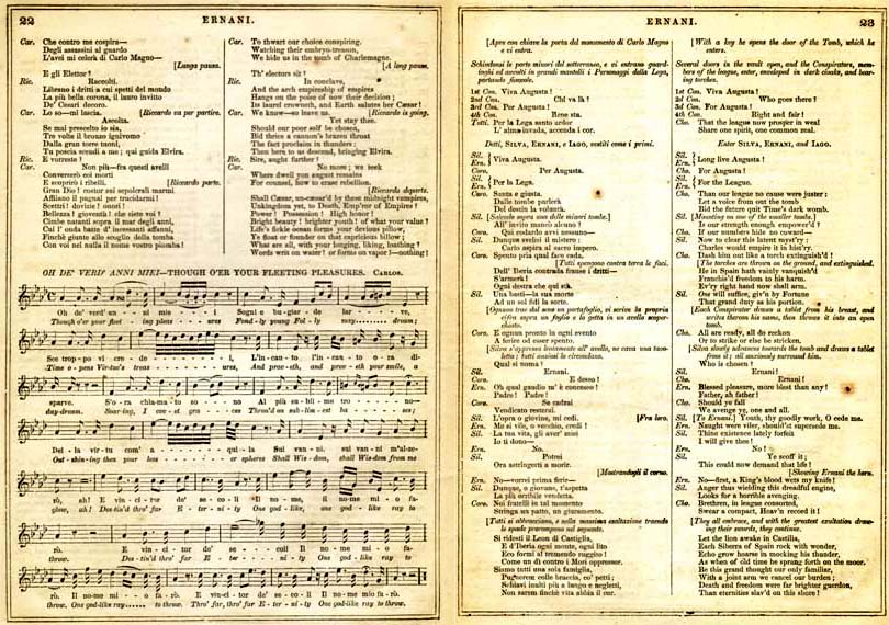 Pages from an 1859 libretto for Ernani, with the original Italian lyrics, English translation, and musical notation for one of the arias